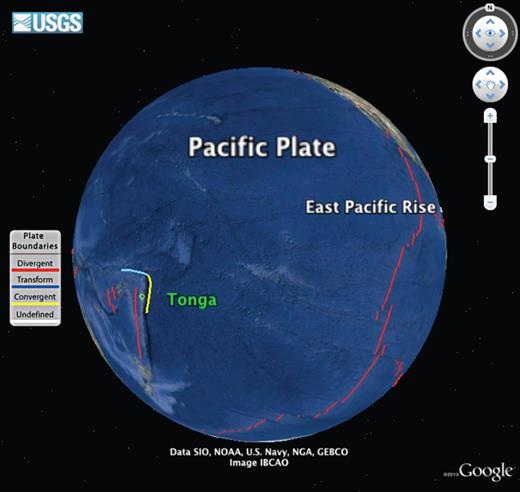 Google Earth representation of tectonics of Pacific Ocean Basin. Red lines mark East Pacific Rise. Northern Tonga Trench shown in yellow, Samoan transform boundary in cyan. Island of Tonga indicated in green. Modified from KML (Keyhole Markup Language) file downloaded from U.S. Geological Survey at http://earthquake.usgs.gov/regional/nca/virtualtour/kml/plateboundaries.kmz.