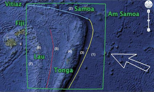 Current study area outlined in green. Pacific plate motion direction in white. Yellow line marks Tonga Trench, cyan line is Vitiaz Lineament. Red line represents complex region of backarc spreading. Am—American. Numbers 1–7 correlate with regions described in Geological Background discussion.