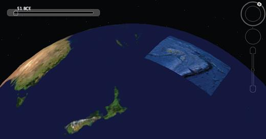 """Seafloor detail for Tonga region snapped from Google Earth and draped over National Aeronautics and Space Administration (NASA) """"Blue Marble"""" image of Earth. Both were moved through longitude to get away from the antimeridian, a region where Google Earth has difficulty handling models (see text)."""