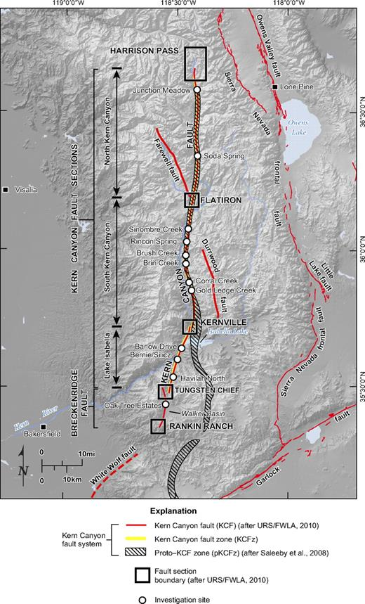 Hillshade topographic map of the southern Sierra Nevada and surrounding region, showing fault sections of the Kern Canyon fault and detailed investigation sites described in Kelson et al. (2010a) and URS/FWLA (2010). Relations between the proto–Kern Canyon fault zone (pKCFz), Kern Canyon fault zone (KCFz), and Kern Canyon fault (KCF) also shown. Proto–Kern Canyon fault zone and Kern Canyon fault zone after Saleeby et al. (2008); Kern Canyon and Breckenridge faults from this study and URS/FWLA (2010); and all others after Jennings (1994 version 2).