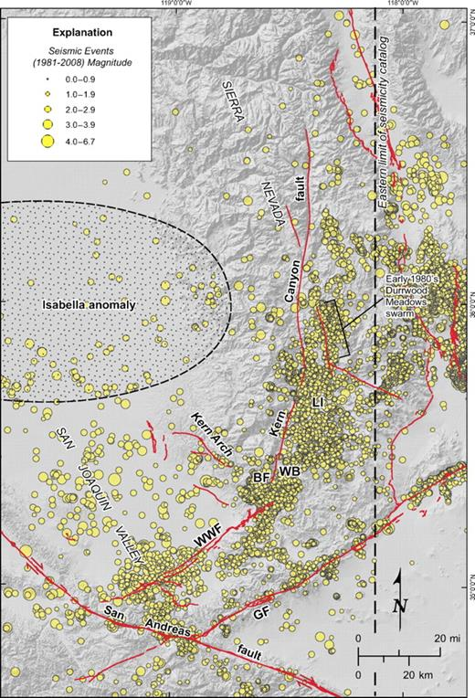 Seismicity in the southern Sierra Nevada and southern San Joaquin Valley. Earthquakes recorded by the Northern and Southern California Seismic Networks. Dashed line indicates eastern limit of seismicity catalog compiled by URS/FWLA (2010); earthquake locations east of the dashed line are from Unruh and Hauksson (2009); Kern Canyon and Breckenridge faults from this study; all others from Jennings (1994 version 2). LI—Lake Isabella; WB—Walker Basin; BF—Breckenridge fault; GF—Garlock fault; WWF—White Wolf fault.