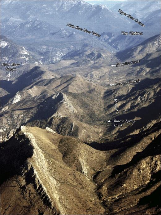 Oblique aerial photograph looking north along the south Kern section of the Kern Canyon fault. The prominent alignment of linear bedrock notches, saddles, and sidehill benches that creates the Rincon is apparent. Note that the Kern Canyon fault runs along the Rincon, not the Kern River gorge, along this section of the fault.