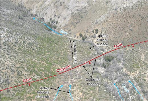 Oblique aerial photograph of the location where the Kern Canyon fault crosses Brin Creek. View is to the west-northwest. Photograph shows fault-deflected stream channel and uplifted alluvial surface on the west side of fault.