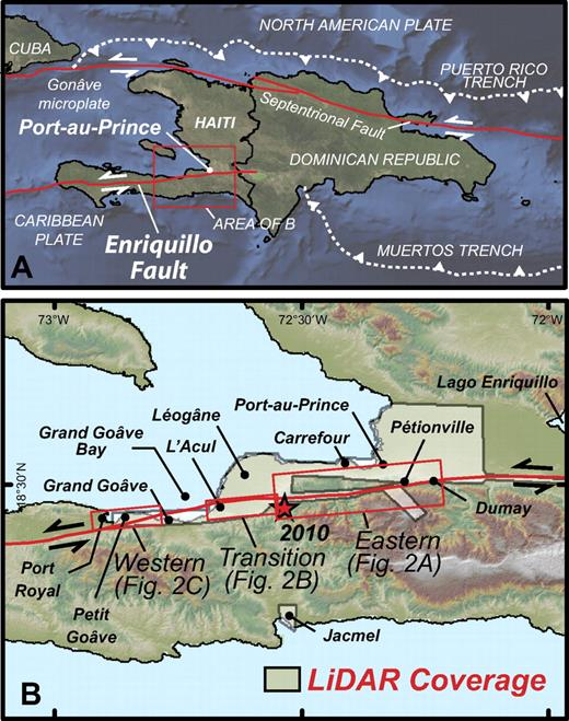 (A) Plate-boundary context of the eastern Enriquillo fault zone. (B) 2010 epicenter and LiDAR (light detection and ranging) coverage. Place names are from 1:50,000 scale topographic maps (U.S. Army Map Service, 1962, 1988, 1991a, 1991b) and Google Earth.