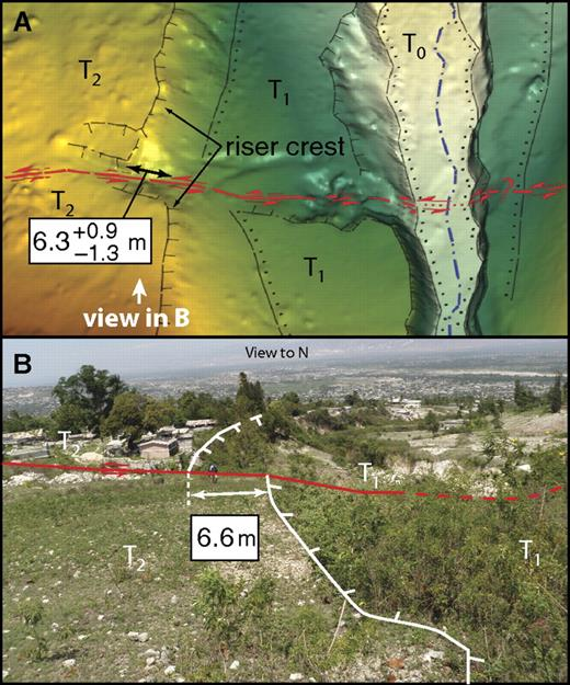 Comparison of remote and field-based observations at the Dumay site of latest Holocene surface rupture along the Enriquillo–Plantain Garden fault (red). Animation 2 shows use of Crusta software (see text) in an immersive visualization environment to conduct remote neotectonic mapping at this site. (A) Results of our remote analysis. At the site, the topographically expressed trace of the fault is a single strand that displaces the crest of a riser between fluvial terraces T2 and T1 by 6.3 +0.9/–1.3 m on the west bank of a north-flowing channel. The fault is clearly defined by a tectonic furrow and two fault-parallel uphill-facing scarps cutting the T2 terrace. The base digital elevation model (DEM) was produced by manually removing vegetation returns, gridding the point cloud (0.5 m/pixel), and then embedding this higher resolution patch in the DEM (1 m/pixel) generated following automated vegetation removal. (B) Independent field observations confirm results from our remote analysis, including both the existence of a displaced fluvial terrace riser and the magnitude of offset. On both panels, ticked lines denote riser crests, with ticks on the riser face. Lines with dots denote approximate riser bases.