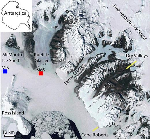General location of the Southern McMurdo Sound (SMS) Project (red) within McMurdo Sound, Antarctica. Also shown is general location of McMurdo Ice Shelf (MIS) Project (blue).