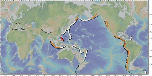 Global map showing location of present-day arcs, divided into continental (orange), island (white), and intermediate (red) arcs. Base map was made from GeoMapApp (http://www.geomapapp.org; see also Ryan et al., 2009).