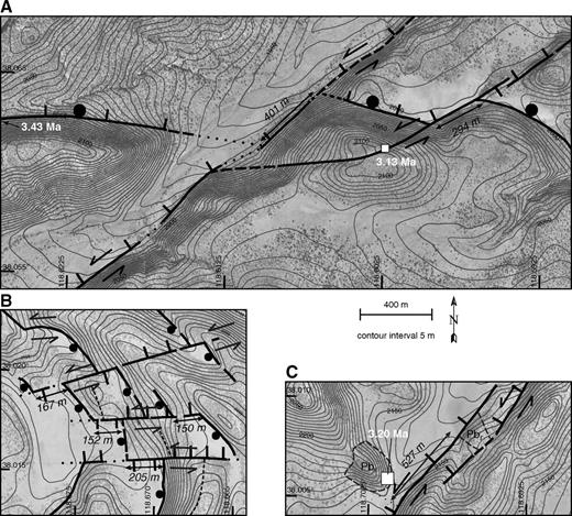 Detailed fault maps superimposed on digital orthophotographs and digital elevation map–generated contours showing left-lateral offset of geologic features along sinistral faults 2 and 3 (see Fig. 7). (A) The intersection line of a normal fault and the surface of its hanging-wall basin are sinistrally offset twice for a total of ∼695 m along the northeastern segment of fault 2. (B) The southwestern segment of fault 2 is characterized by several subparallel sinistral fault strands that offset the intersection of line of normal faults and hanging-wall basins, and a basalt ridgeline (narrow dashed line). The net offset across these sinistral faults is ∼523 m. (C) The edge of the basalt rubble flow, unit Pbr (see Figs. 4A and 5 for description), is sinistrally offset ∼527 m by fault 3. Paired arrows, solid ball, and hachures are defined in Figure 4A, and locations are shown in Figure 4A.