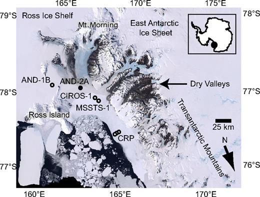 Location of the AND-2A drill site in Southern McMurdo Sound, Ross Embayment, Antarctica, and locations of nearby drill sites.