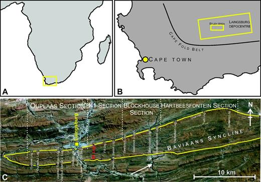 (A, B) Locality maps of southern Africa and the Western Cape Province, with location of the Laingsburg depocenter and study area indicated. (C) Aerial image of the study area showing locations of logged sections and localities referred to in the text. Note the N1 log locality (in red), which is used as the type section. White dots indicate logged sections.