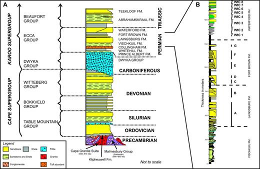 (A) Lithostratigraphy of the Western Cape area (redrawn after Wickens, 1994). (B) Schematic stratigraphy of the upper Ecca Group in the Laingsburg depocenter. The lower Waterford Formation detail is based upon the N1 log locality type section and shows the seven studied parasequences. The focus of this study is on Waterford clinothem (WfC) 3 and WfC 4.