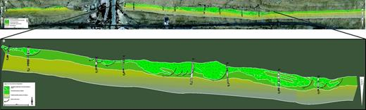(A) Interpreted aerial photograph of Waterford clinothem (WfC) 3 at the Blockhouse section showing large-scale extensional deformation in the form of sand-filled rotated growth faults. Extension direction is to the east. Image is from Google Earth. (B) Close-up of area of most intense rotational deformation within WfC 3 (2× vertical exaggeration). Note consistent rotation of internal sandstone blocks.