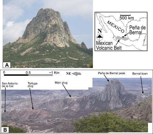 (A) Panoramic view toward the north of Peña de Bernal monolith and corresponding regional index map (inset). (B) Panoramic view toward the east of Peña de Bernal from summit of San Martín volcano. Note the elongated shape of the main plug of the Peña de Bernal dacitic dome and the rounded plug of Tortuga. The Northern plug is not shown in the image.
