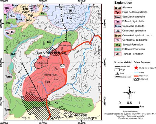Geologic map of Peña de Bernal dacitic dome and surrounding area. Also indicated is the A–B section line shown in Figure 3.