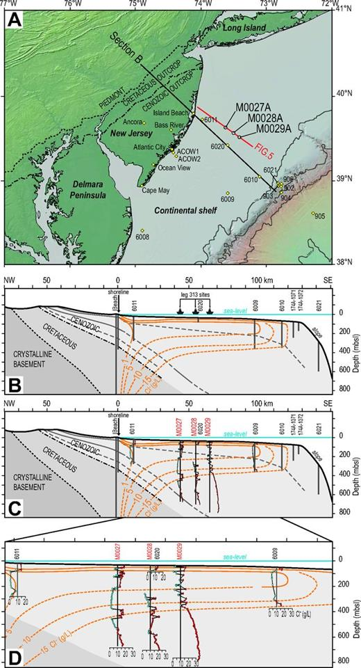 (A) The New Jersey continental margin showing the locations of Integrated Ocean Drilling Program Expedition 313 Holes M0027A, M0028A, and M0029A, and previous onshore and offshore boreholes (from Mountain et al., 2010) (ACOW—Atlantic City Offshore Well Program). (B) Hydrogeological section of the New Jersey Margin classically used for groundwater-flow modeling (modified from Hathaway et al., 1979), showing the pore-water chlorinity distribution in the offshore domain. Dashed lines are extrapolations, and not based on field data (mbsl—meters below sea level). (C) As in B, but including the superimposed Expedition 313 chlorinity pore-water data (in g/L). Recent borehole data allow the original model to be refined. The pore-water units are numerous, with a multilayered organization at the three sites drilled. Several intervals of fresher water (in blue; chlorinity < 10 g/L) alternate with saltier intervals (in red; chlorinity > 10 g/L). Seawater chlorinity is typically ∼19 g/L. (D) Enlarged view of the middle shelf area.