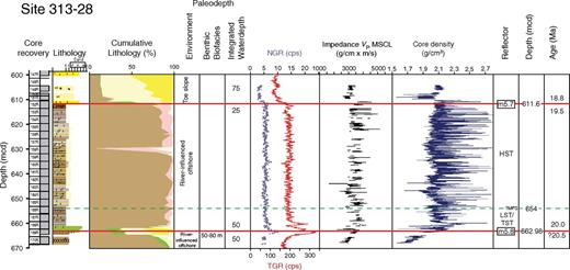 Integrated Ocean Drilling Program Expedition 313 Site M28, sequences from total depth to m5.7. Explanation and key as in Figures 3–5.