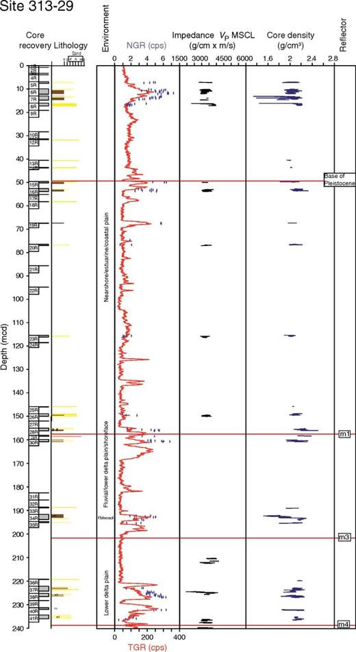 Integrated Ocean Drilling Program Expedition 313 Site M29, sequence m4 and younger sequences. Explanation and key as in Figures 3–5.