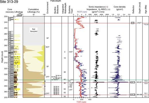 Integrated Ocean Drilling Program Expedition 313 Site M29, sequences m4.1–m4. Explanation and key as in Figures 3–5.