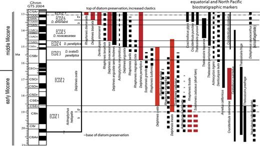 Age ranges of East Coast Diatom zonal markers (red bars) determined from ranges of planktonic diatom marker taxa (black bars) and the age versus depth model for Integrated Ocean Drilling Program Expedition Hole M29A (Fig. 2) (Table 2). Dashed lines show inferred ranges of secondary marker taxa. Abbreviations as in Figure 2.