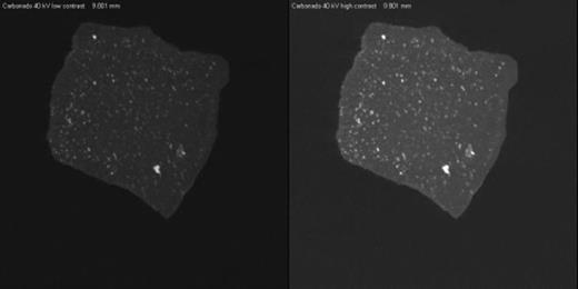 Individual slice animation for a 29.2-µm-resolution data set of carbonado acquired with X-rays set at 40 kV, at two contrast levels. Patinaed side of specimen is on right side of images. Images are 17.9 mm wide (1224 × 612 pixels; 10.4 MB). If you are viewing the PDF of this paper or reading it offline, please visit http://dx.doi.org/10.1130/GES00908.S1 or the full-text article on www.gsapubs.org to view Animation 1.