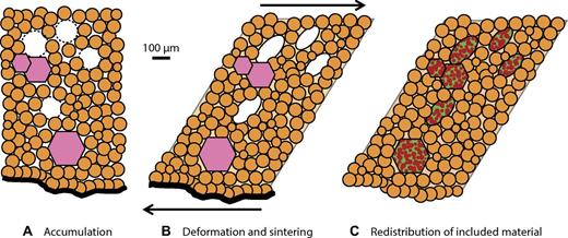 Schematic illustration of model for formation and evolution of carbonado diamond based on textural observations in this study. (A) In a fluid-filled cavity associated with a crystallizing magma, crystallizing solids including 10–100 µm diamond crystallites (orange circles), the dodecahedral phase (pink hexagons), and assorted nano-inclusions settle to the floor, trapping fluid between mineral grains and occasionally as bubbles in the process (white ovals). While the assemblage remained a mush, the bubbles would tend to slowly rise due to positive buoyancy. (B) A shearing event then deforms the bubbles, but not the dodecahedra, while catalyzing crystallization of micrometer-scale diamond from the trapped fluid (light orange shading). (C) Over the subsequent billions of years, once the carbonado has been emplaced in a near-surface environment, accumulation of radiation damage from U and Th breaks down the dodecahedral phase, and material migrates through the pore network to form new minerals that are stable at crustal conditions (mottled ovals and hexagons).