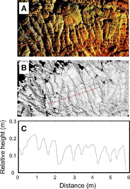 """Imaging and measurements of """"armadillo"""" (Naranjo et al., 1992) structures on the floor of a lava channel in the Mauna Loa 1984 flow. (A) Point cloud viewed from above, with colors reflecting intensity of returned laser pulses. (B) TLS (terrestrial laser scanning) point cloud gridded at 2 cm with illumination from the west. Corrugations parallel to the direction of flow (left to right) are well resolved. Red line shows profile transect illustrated in C. (C) Profile across the armadillo structures showing the curved shear surface and steep breakaway present on most individual structures."""