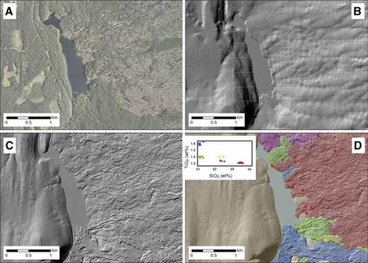 Comparative maps of part of ∼3000-yr-old mafic lava flow field in the upper McKenzie River basin, Oregon. (A) Google Earth image showing Clear Lake (dammed by the flow) and variable vegetation cover on the flows. (B) 10 m digital elevation model (DEM) hillshade. (C) Lidar (light detection and ranging)-generated DEM of the same region; note the detail provided of the flow surface. (D) Geologic map of individual flows constructed using the lidar data and associated mapping, sampling, and geochemical analysis.