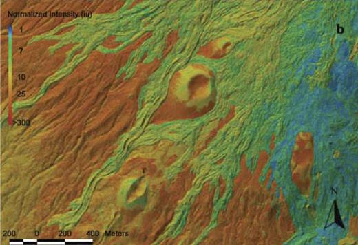 Lidar (light detection and ranging) intensity values superimposed on shaded relief image of a portion of Etna volcano, Italy. Data are normalized to a standard aircraft elevation of 1000 m. Image illustrates the variation in intensity data with flow age and surface texture (from Mazzarini et al., 2007, copyright 2007 American Geophysical Union. Reproduced by permission of American Geophysical Union.).