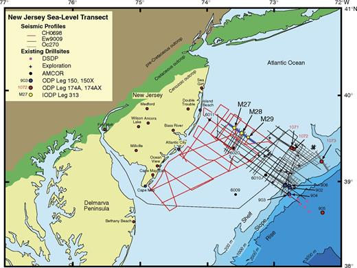 Generalized bathymetric and location map of the New Jersey/Mid Atlantic Margin transect showing three generations of multichannel seismic (MCS) data (R/V Ewing cruise Ew9009, R/V Oceanus cruise Oc270, and R/V Cape Hatteras cruise Ch0698) acquired before Expedition 313, as well as onshore coreholes and offshore coreholes drilled by AMCOR (Atlantic Margin Coring Project), ODP (Ocean Drilling Program), and IODP (Integrated Ocean Drilling Program). DSDP—Deep Sea Drilling Project. Palynomorphs were analyzed from Sites M27 and M29 at the proximal and distal ends of the IODP Expedition 313 transect.