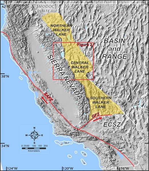 Shaded relief map depicting a portion of western North America. California and Nevada state boundaries are outlined in white; yellow indicates the extent of the Walker Lane as defined in this study. ECSZ—Eastern California shear zone; SAFZ—San Andreas fault zone; GFZ—Garlock fault zone.