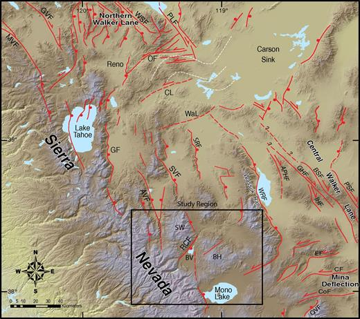 Colored shaded-relief map of portions of the northern and central Walker Lane. Major faults and lineaments are modified from Faulds and Henry (2008). Physiographic study regions: BH—Bodie Hills; BV—Bridgeport Valley; SW—Sweetwater Mountains. Regional faults: APHF—Agai Pai Hills fault; AVF—Antelope Valley fault; BSF—Benton Springs fault; CF—Candelaria fault; CL—Carson lineament; CoF—Coaldale fault; EF—Excelsior fault; GF—Genoa fault; GHF—Gumdrop Hills fault; GVF—Grizzly Valley fault; IHF—Indian Head fault; MVF—Mohawk Valley fault; OF—Olinghouse fault; PLF—Pyramid Lake fault; PSF—Petrified Springs fault; QVF—Queen Valley fault; RCF—Robinson Creek fault; SRF—Singatse Range fault; SVF—Smith Valley fault; Wal—Wabuska lineament; WRF—Wassuk Range frontal fault; WSF—Warm Springs Valley fault. White dashed lines denote orocline of Faulds and Henry (2008).