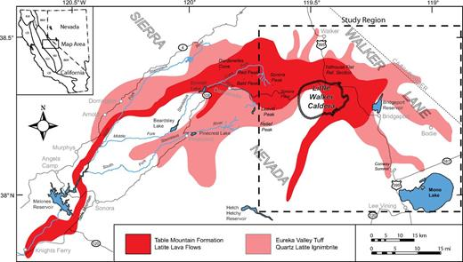 Regional map showing distribution of the Table Mountain Formation and Eureka Valley Tuff Members of the Stanislaus Group (modified from King et al., 2007; Pluhar et al., 2009). Physiographic regions in inset: B&R—Basin and Range; CR—Coast Ranges; GV—Great Valley; KM—Klamath Mountains; SCM—southern Cascade Mountains; SN—Sierra Nevada.