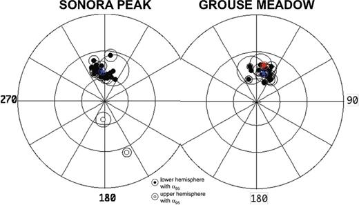 Stereonets showing paleomagnetic remanence directions used to average secular variation for Sonora Peak and Grouse Meadow localities (from Pluhar et al., 2009). Mean directions for individual lava flows of the Table Mountain Formation (open or filled black circles, with α95 error radius), averaged paleomagnetic direction (blue star, with α95 error radius) of normal polarity lavas for each locality, and remanent direction of the By-Day Member at Grouse Meadow (red filled circle, with α95 error radius) are shown. The differences in averaged paleomagnetic directions (blue stars) are used in this study to back rotate the Grouse Meadow locality into a relative stable reference frame and infer a new reference direction for the By-Day Member.