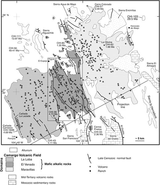 Synextensional pliocenepleistocene eruptive activity in the camargo figure 3 generalized geologic map of the camargo volcanic field the box in the ccuart Images