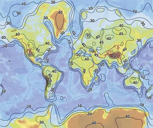Contour map of the thickness of Earth's crust (developed from model CRUST 5.1). The contour interval is 10 km (45 km contour interval is also shown to provide greater detail on the continents). To a first approximation, the continents and their margins are outlined by the 30 km contour. Source of figure: http://earthquake.usgs.gov/research/structure/crust/index.php.