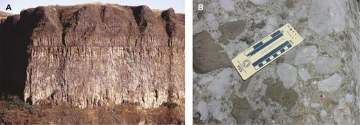 (A) Cliffed section of the 2660 km3 (M8.86) Sand Hollow flood basalt flow from the Columbia River large igneous province (Palouse Falls, Washington), illustrating the internal morphology and potential thickness (∼60 m height) of a single, large-magnitude sheet lobe (from Bryan et al., 2010). (B) Close-up of a proximal mafic volcaniclastic deposit of phreatomagmatic origin from the Emeishan large igneous province (Daqiao, near Huidong, China), produced by the explosive interaction between flood basaltic magmas, seawater, and living carbonate reefs during the early stages of volcanism (Ukstins Peate and Bryan, 2008). Note the ragged shapes to the basaltic lava clasts (dark colored) and textural evidence for their ductile state at time of emplacement, such as indentations from limestone clasts (light colored). Mafic volcaniclastic deposits can provide sensitive records of eruption and emplacement environments and subtle variations in tectono-volcanic evolution not found in a thick and extensive flood basalt lava stratigraphy. Figure 4A is reprinted from Earth-Science Reviews, vol. 102, Bryan, S.E., Ukstins Peate, I.A., Self, S., Peate, D., Jerram, D.A., Mawby, M.R., Miller, J., and Marsh, J.S., The largest volcanic eruptions on Earth, p. 207–229, 2010, with permission from Elsevier.