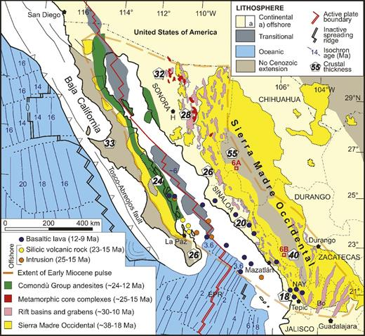 Tectonic map of northwestern Mexico showing the main volcano-tectonic elements, including: (1) the preserved extents of the Oligocene–early Miocene silicic-dominant volcanic activity of the Sierra Madre Occidental (Ferrari et al., 2002; Bryan et al., 2008); (2) extents of the dominantly bimodal early Miocene pulse that coincided with the wide development of grabens and rift basins (McDowell et al., 1997; Ferrari et al., 2002), and a restricted belt of metamorphic core complexes in the state of Sonora (Nourse et al., 1994; Wong et al., 2010); (3) distribution of the middle Miocene Comondú Group andesites (from Umhoefer et al., 2001); and (4) recently dated Miocene igneous rocks from offshore (Orozco-Esquivel et al., 2010). Lithospheric variation across the region is also shown, including unextended and extended continental regions, and transitional to new oceanic crust formed by the propagating spreading center in the Gulf of California. Red boxed areas near Mazatlán and Chihuahua-Sinaloa state border refer to locations of photographs in Figure 6. Abbreviations: EPR—East Pacific Rise; H—Hermosillo; Nay.—Nayarit; Bo—Bolaños graben. Figure is modified from Bryan et al. (2013).