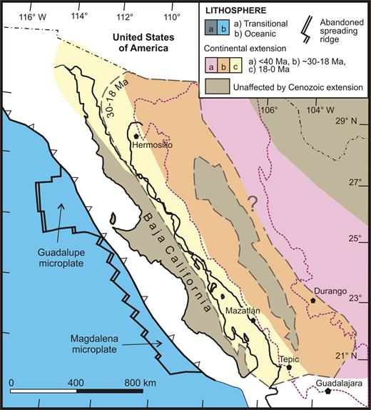 Space-time map of northwestern Mexico showing the progressive switch from wide rift and silicic-dominant to bimodal volcanic modes from ca. 30 Ma to 18 Ma, to a narrow rift and intermediate composition volcanic mode after 18 Ma focused on the current site of the Gulf of California. Dashed purple line denotes current extents of Sierra Madre Occidental Oligocene–early Miocene volcanism on mainland Mexico (see Fig. 5).