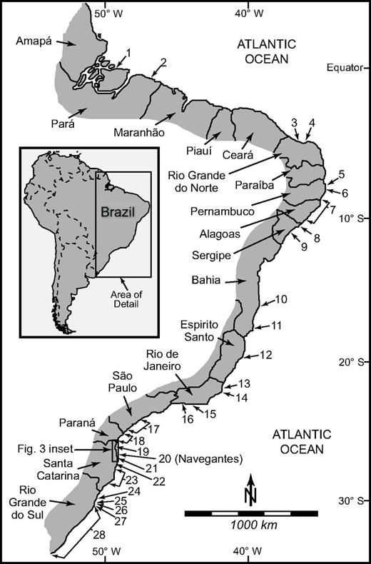 Locations of mid-Holocene highstand deposits identified along the Brazilian coast. Numbers 1–28 indicate the locations of mid-Holocene highstand transgressive deposits, and correspond to location identifiers listed in Table 1. New data are presented here for location 20 (Navegantes), located in central Santa Catarina State in southern Brazil.