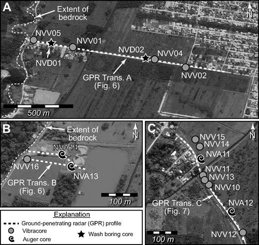 Data collection at sites 1–3 at Navegantes. Locations of ground-penetrating radar (GPR) profiles, auger cores (prefix NVA), vibracores (NVV), and wash borings (NVD). See Figure 3 for location. Trans.—transect. (A) Site 1. (B) Site 2. (C) Site 3.