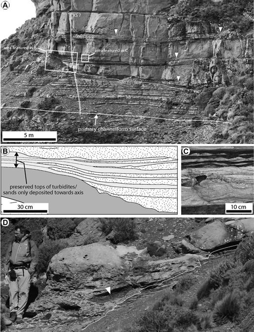 Detailed sedimentological characteristics of the transition from channel axis to margin deposits. (A) The coarsening-upward stratigraphic package characteristic of an off-axis to margin position within the channel. (B) Line drawing trace showing turbidites with sand deposited only toward the channel axis, and their muddy caps extending into the channel margin setting (to the left). Location of beds is indicated in part A. (C) Evidence for traction transport of sediments at the point where sands pinch out marginward, including cross-stratification in thick sandstone beds. Location is shown in part A. (D) Enrichment of mudstone intraclasts at erosional contact (dashed white line) between thick-bedded sandstone and heterolithic margin facies. Location is shown in Figure 7B.