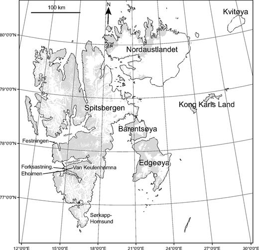 Map of Svalbard showing the major islands and the location of the four study sections. Shaded areas are bedrock exposures. White areas are glaciated. Base map was provided by W.K. Dallmann of the Norwegian Polar Institute. Forkastning.—Forkastningsdalen.