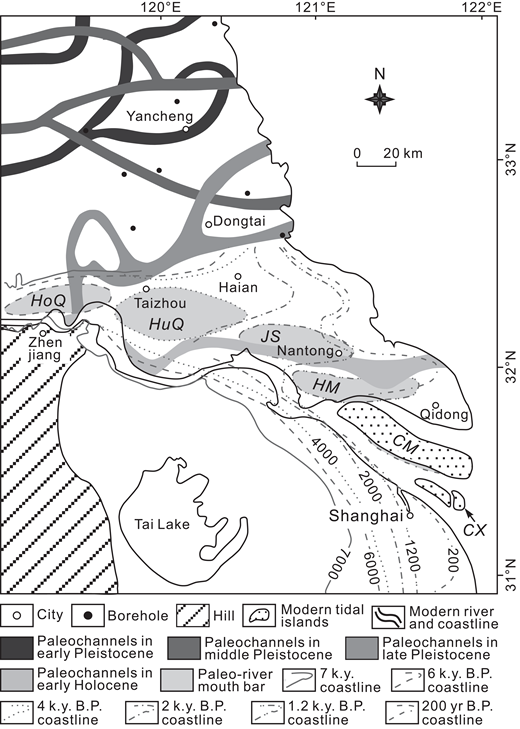 Map showing the distribution of Changjiang paleochannels from the early Pleistocene to the present. Also depicted is the reconstructed evolution of Holocene coastlines and river-mouth sand bars of the modern Changjiang delta during the past 7000 yr. Data were compiled and modified after Chen and Stanley (1995) and Hori et al. (2001b). HoQ—Hongqiao river-mouth sand bar; HuQ—Huangqiao river-mouth sand bar; JS—Jinsha river-mouth sand bar; HM—Haimen river-mouth sand bar; CM—Chongming river-mouth sand bar; CX—Chongxing river-mouth sand bar. See Figure 1 for the distribution of the main delta and the southern and northern flanks of the modern Changjiang delta.