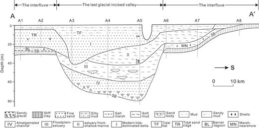 North-south stratigraphic transect (A-A′; see location in Fig. 1) across the modern Changjiang delta region (modified from Li et al., 2006). The environmental interpretations of units II and III are the primary focus of this paper. SB—sequence boundary. 14C data are derived from Li et al. (2002): a—6595 ± 320 cal. yr B.P., 11.70 m depth; b—11,490 ± 930 cal. yr B.P., 35.5 m depth; c—12,900 ± 190 cal. yr B.P., 38.80 m depth (Table 1).