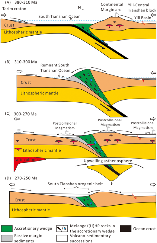 Schematic model illustrating tectonic evolution of the South Tianshan orogen. (U)HP—(ultra)high-pressure.
