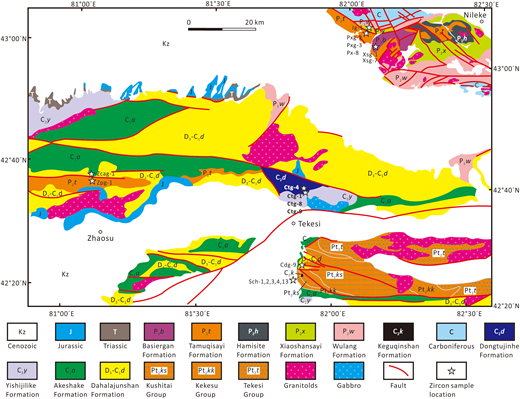 Geological map of the Zhaosu-Tekesi-Nileke area showing the sampling locations (modified after Zhang et al., 2006; B. Wang et al., 2007; N.B. Li et al., 2015a). Abbreviations: Pt2—Mesoproterozoic; D3-C1—Late Devonian–early Carboniferous; C1—early Carboniferous; C2—late Carboniferous; P1—Early Permian; P2—Middle Permian; P3—Late Permian.