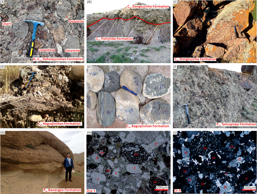 Representative field photographs and photomicrographs of the late Paleozoic succession in the Yili Basin: (A) Conglomerate of the Dahalajunshan Formation at Tekesi; (B) unconformable contact between the Dongtujinhe Formation and the Yishijilike Formation at Tekesi; (C) purple-red pebbly sandstones of the Dongtujinhe Formation at Tekesi; (D) cross-beds in pebbly sandstones of the Keguqinshan Formation at Tekesi; (E) eclogite clasts in the conglomerate of the Keguqinshan Formation at Tekesi; (F) conglomerates of the Tamuqisayi Formation at Nileke; (G) conglomerates of the Basiergan Formation at Nileke displaying erosive basal contacts; (H) sandstone sample from the Akeshake Formation at Zhaosu (sample Zca-1) and (I) sandstone sample from the Dongtujinhe Formation at Tekesi (sample Ct-5). H and I are in plane-polarized light and cross-polarized light, respectively. Q—quartz, F—feldspar, Ls—sedimentary lithic, Lv—volcanic lithic. D3-C1—Late Devonian–early Carboniferous; C2—late Carboniferous; P2—Middle Permian; P3—Late Permian.