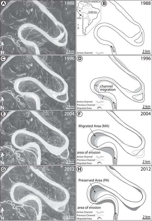 Satellite images of the Ucayali River, Peru (Lat: 7°38′32.17″S, Long: 75°0′48.85″W). Inset map indicates location in South America. (A, C, E, G) Satellite images showing changes in channel location every 8 yr. (B, D, F, H) Line tracings of the active channel (solid), previous channel (dashed), and migrated area (polygon) for each image on the left. Note that this meandering channel is situated on a megafan rather than a confined meander-belt valley. Nevertheless, it is a useful example to illustrate meander migration through time, applicable to the analyses undertaken in this study.