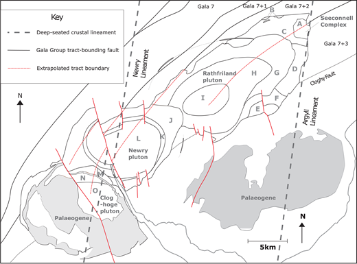 Gala Group tract boundaries and deep-seated crustal lineaments in the vicinity of the Newry igneous complex. Tract boundaries are extrapolated through the Newry igneous complex (after Beamish et al., 2010; Cooper et al., 2013). See Figure 1 for zones and facies.