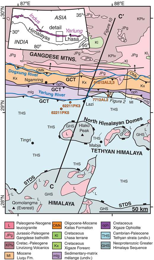 Tectonic map of the Himalaya, Tethyan Himalayan physiographic zone, and southern Lhasa terrane in central-southern Tibet. Geology is modified after Orme et al. (2015). The Lazi region study area is shown in the box, and the cross section line refers to the cross sections in Figure 10. Inset map is adapted from Guillot et al. (2008). STDS—South Tibetan detachment system, GCT—Great Counter thrust.